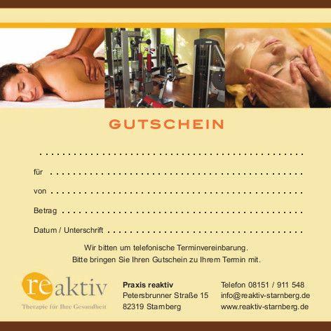 Reaktiv Physiotherapie Starnberg Gutschein